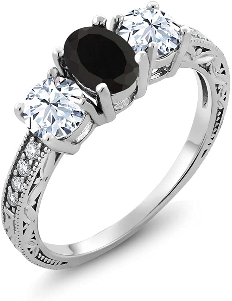 Gem Stone King 925 Sterling Silver Black Onyx Women's Wedding Engagement Ring (2.42 Cttw, Gemstone Birthstone, Available in size 5, 6, 7, 8, 9)