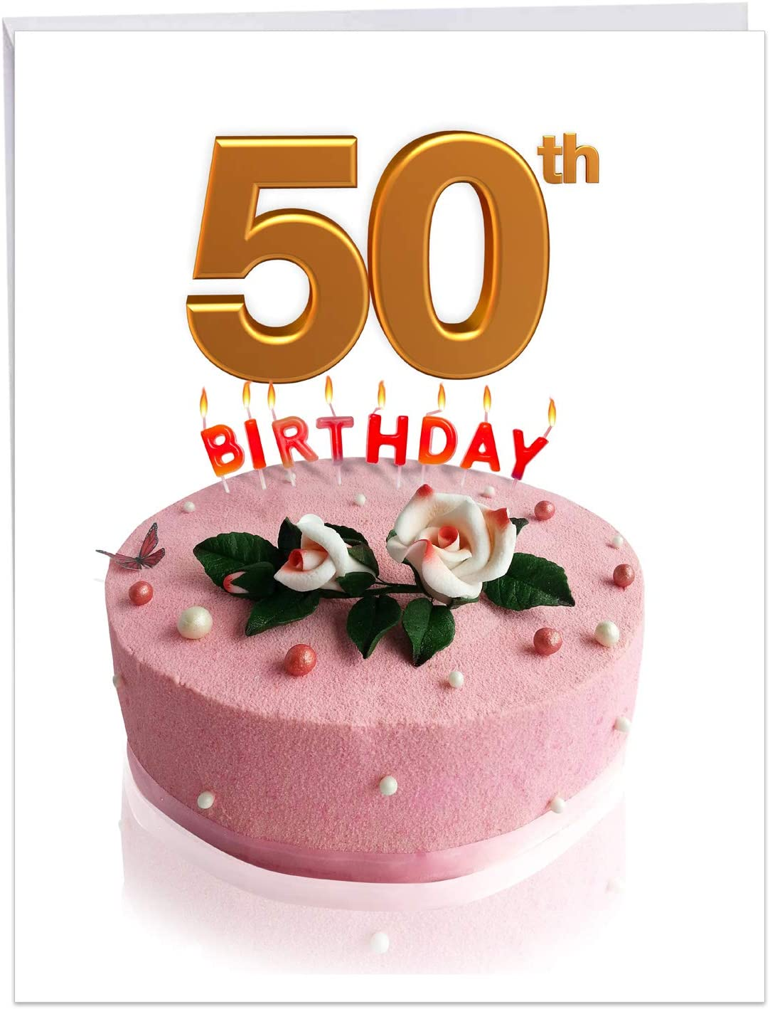 Big Day 50 - Stylish Milestone 50th Birthday Greeting Card with Envelope (Big 8.5 x 11 Inch) - Frosted Pink Cake for Happy Birthday Celebration - Big Congratulations Card for Men, Women J7060FMBG