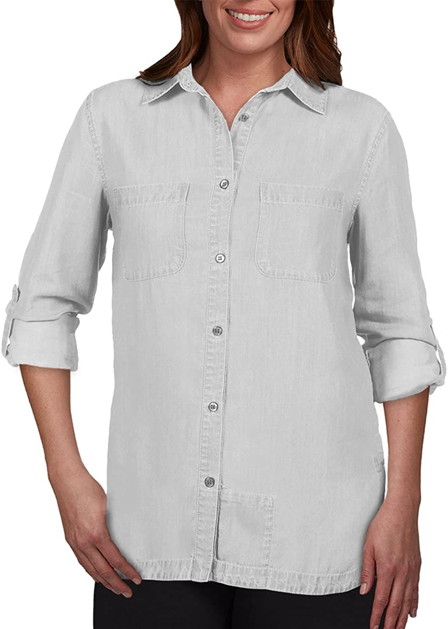 SCOTTeVEST Charlotte Chambray Shirt - Button Down Shirt for Women with Pockets