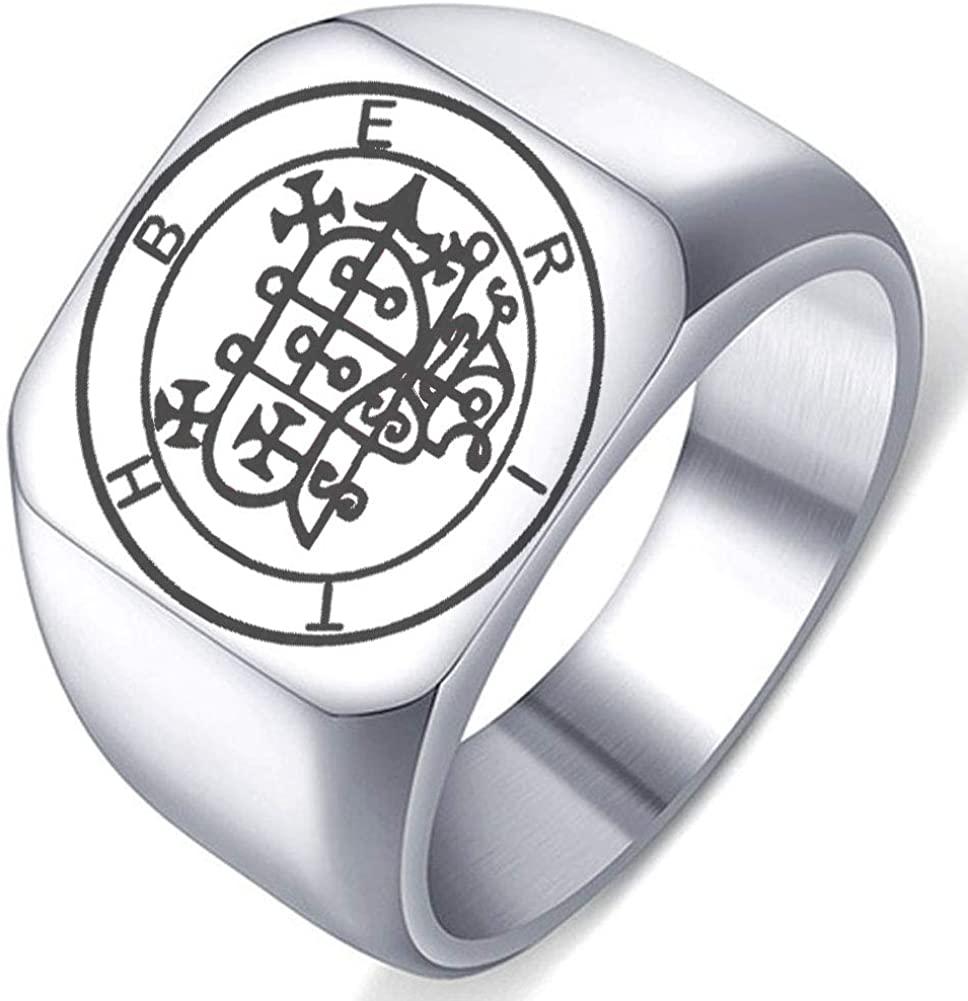 Laser Engraved Demon Berith Goetic Seal Lesser Key of King Solomon Stainless Steel Ring