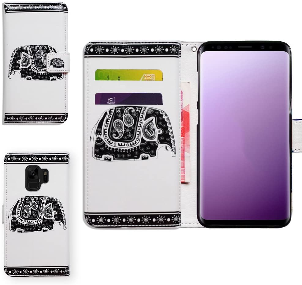 Galaxy S9 Plus Case,Bcov Black Tribal Elephant Card Slot Folio Wallet Leather Cover Case for Samsung Galaxy S9 Plus/S9+