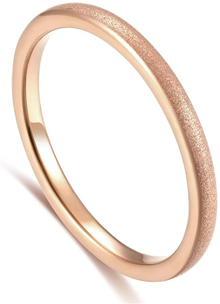 Womens 2mm Tungsten Carbide Band Sand Blast Finish Rose Gold Wedding Engagement Domed Ring
