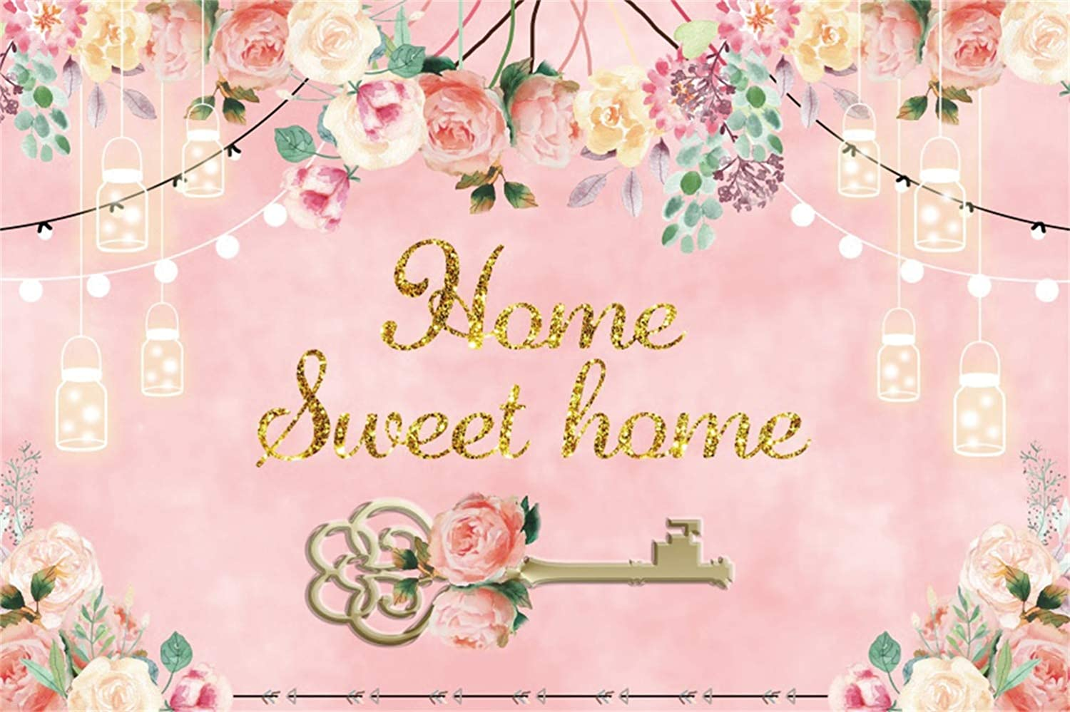 Leowefowa 9x6ft Home Sweet Home Backdrop Vinyl Sweety Pink Tone Bridal Shower Housewarming Party Photography Background Key Flowers Party Banner Light Decors Studio Photo Props