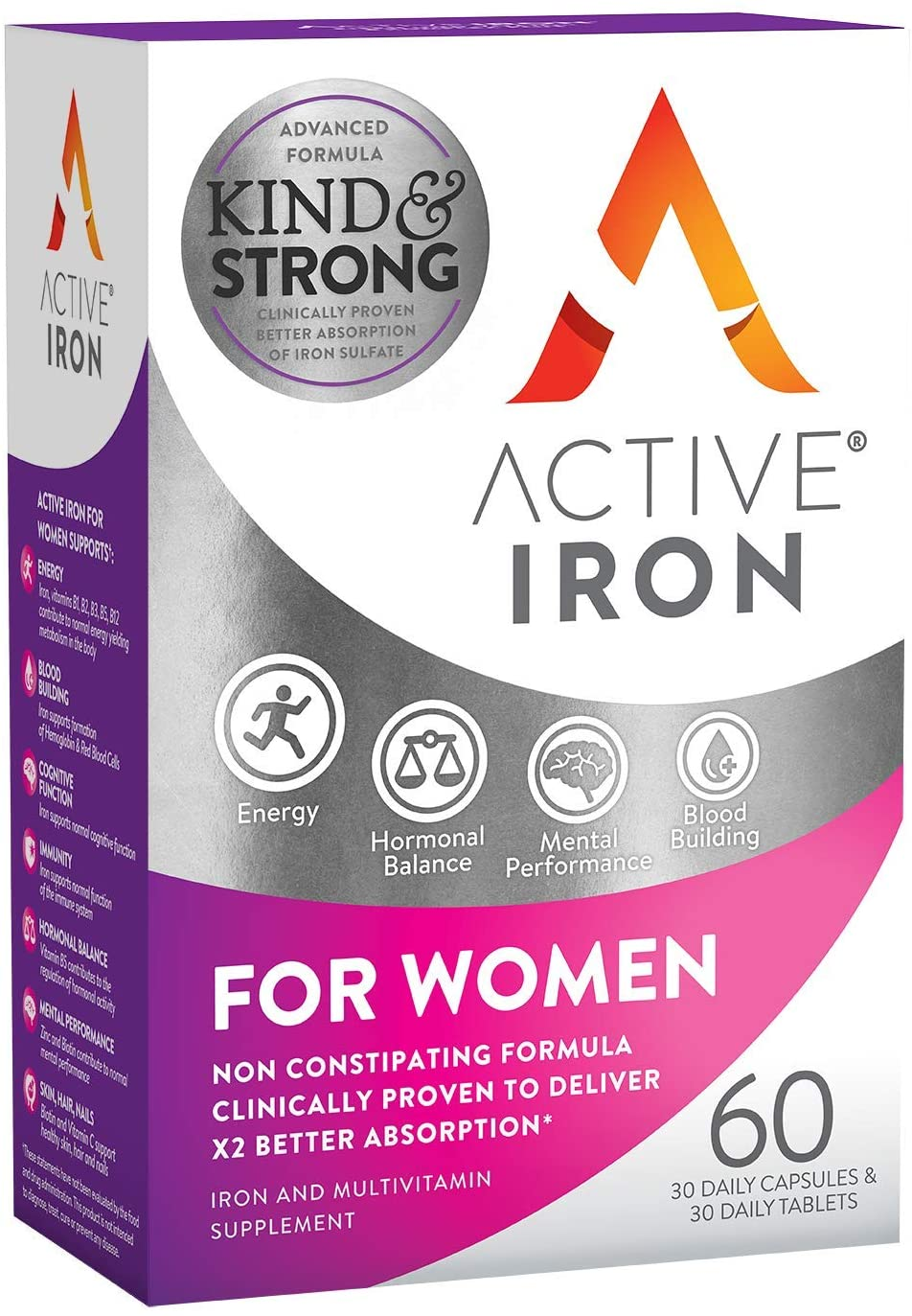 Active Iron for Women, Non-Constipating, 30 Active Iron High Potency Capsules with 30 Multivitamin Tablets, Helps Strengthen Your Immune System