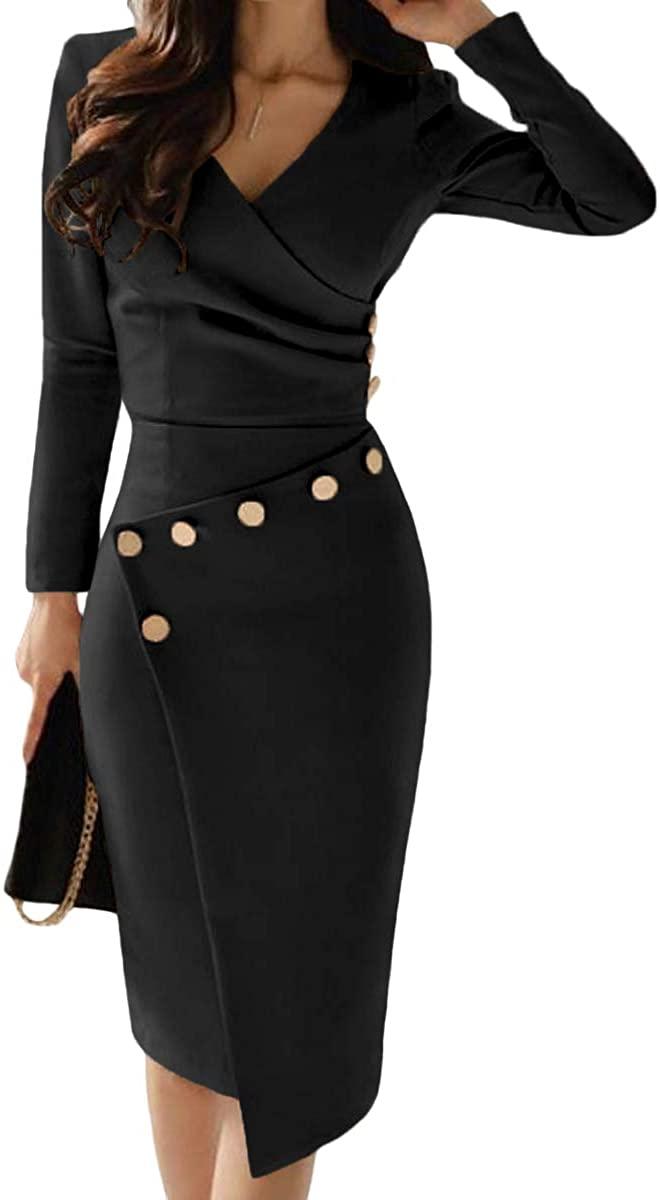 Women's Midi Long Sleeve V Neck Asymmetric Button Detail Ruched Bodycon Dress