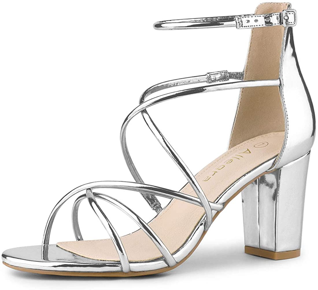 Allegra K Women's Strappy Crisscross Strap Block Heels Sandals