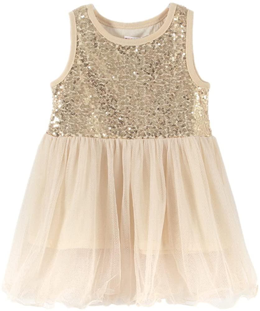 LittleSpring Toddler Girls Sundress Sequins Lace Summer Dress