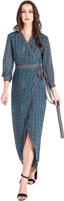 Standards & Practices Modern Women's Snakeskin Tulip High Low Chiffon Wrap Dress