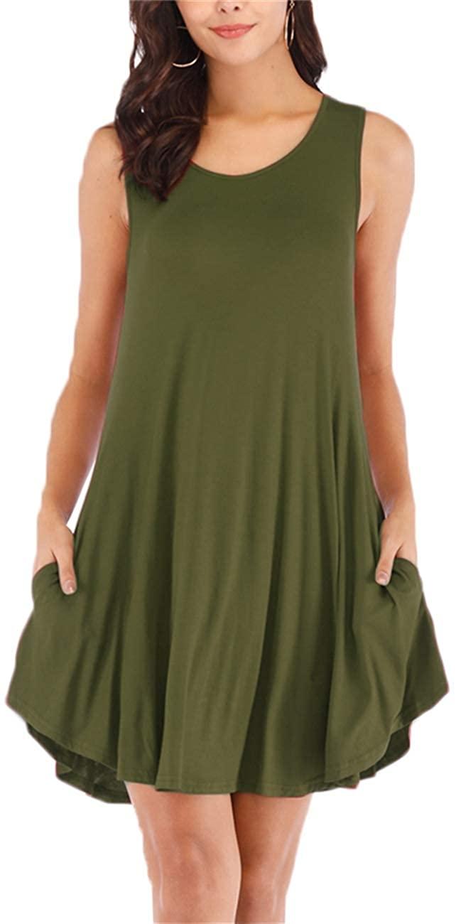 Haola Womens Summer Plain Sleeveless Pocket Casual Loose Swing T Shirt Dresses