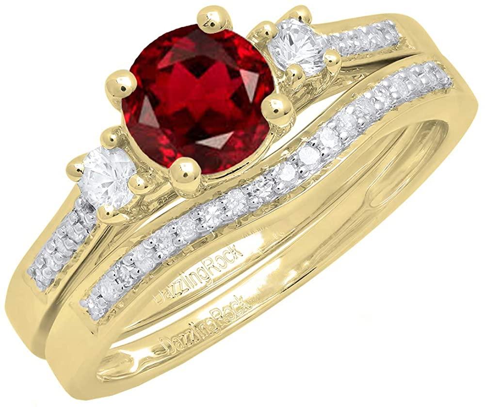 Dazzlingrock Collection 10K 6 MM Round Gemstone, White Sapphire & Diamond Ladies 3 Stone Engagement Ring Set, Yellow Gold