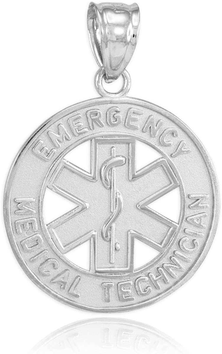 American Heroes 925 Sterling Silver EMT Charm Emergency Medical Technician Star of Life Pendant