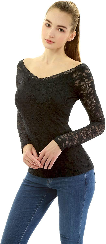 AmélieBoutik Women V Neck Lace Raglan Long Sleeve Blouse