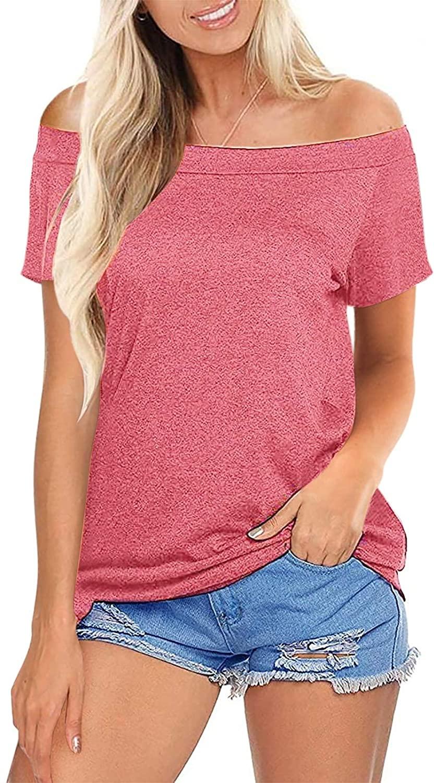 SWQZVT Women's Off Shoulder Tops Long Sleeve Casual Loose T-Shirt Boat Neck Blouse Top