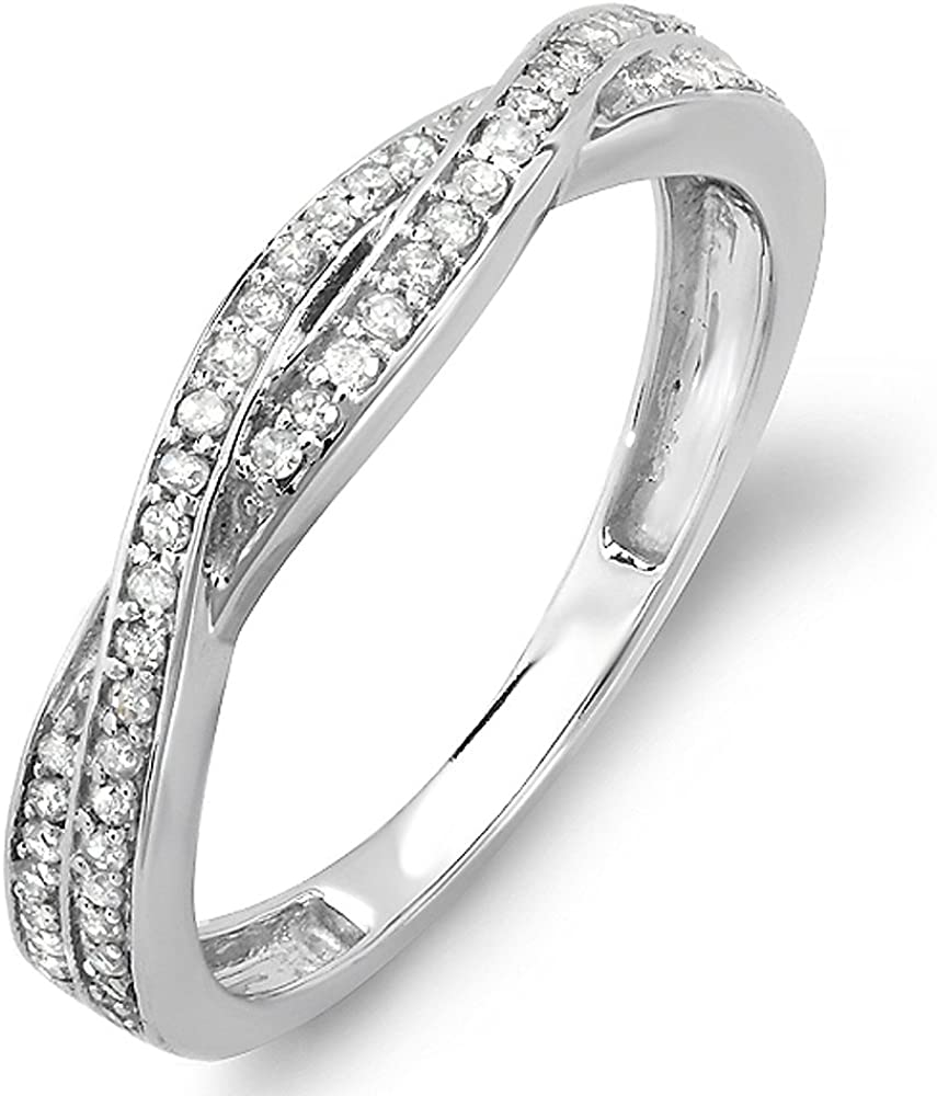 Dazzlingrock Collection 0.25 Carat (ctw) 10K Gold Round Diamond Anniversary Wedding Band Swirl Matching Ring 1/4 CT