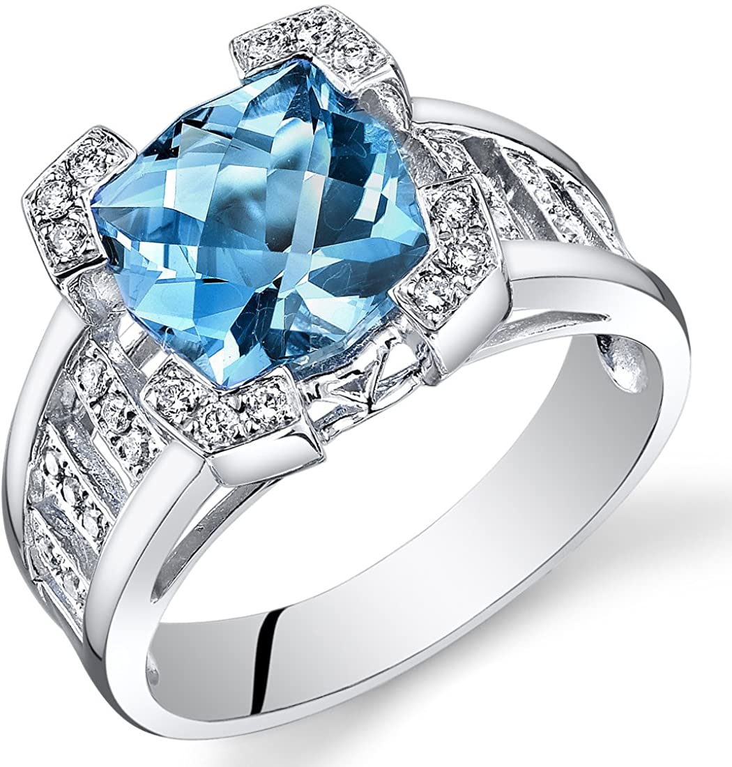 Peora 14K White Gold Cushion Swiss Blue Topaz Diamond Ring (3.7 cttw)