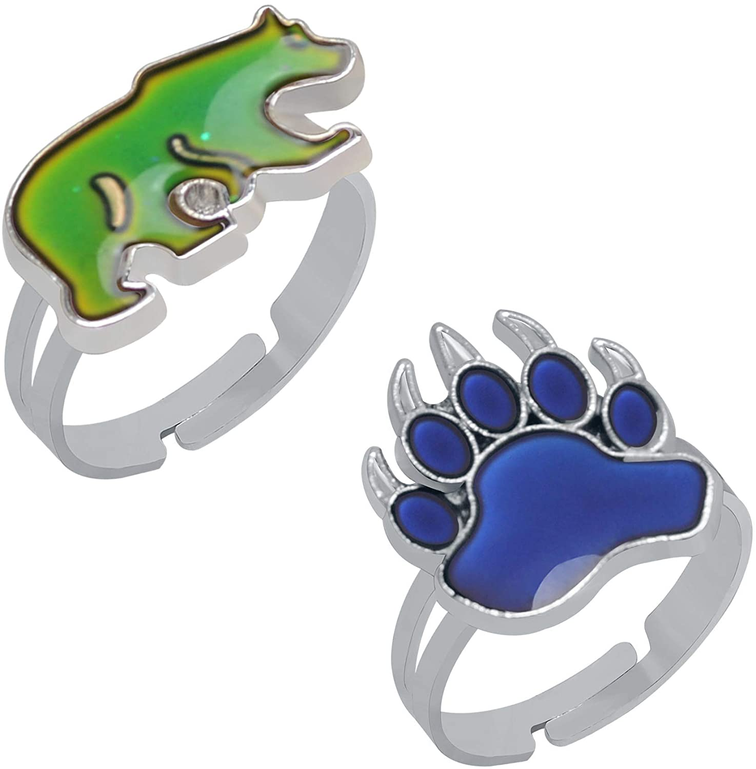 Wqaip Kerg 2 Pcs Bear and Paw Color Change Ring Adjustable Size Mood Ring for Kids Girls Boys