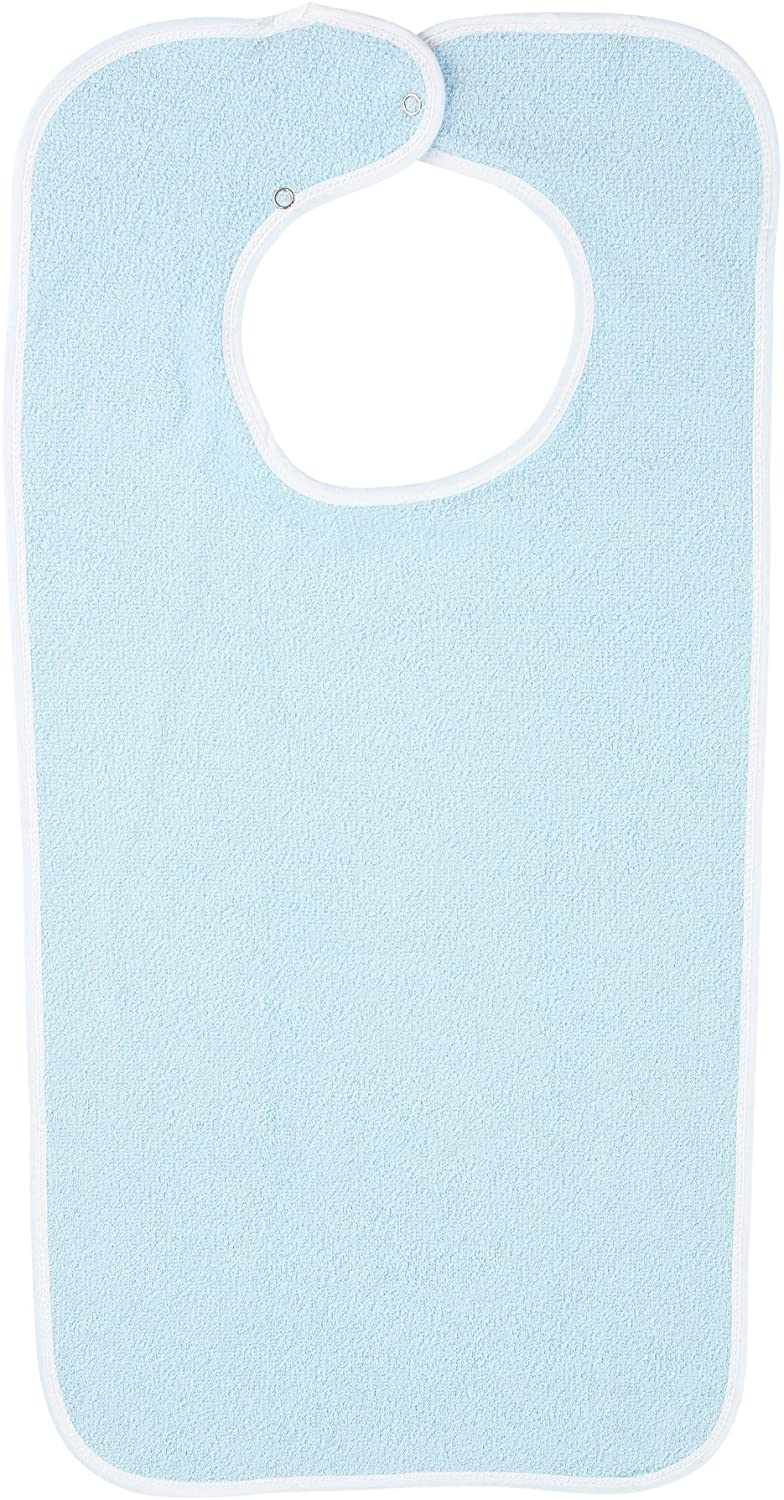 Adult Washable Bib-Terry Cloth with Snap Closure (Blue)