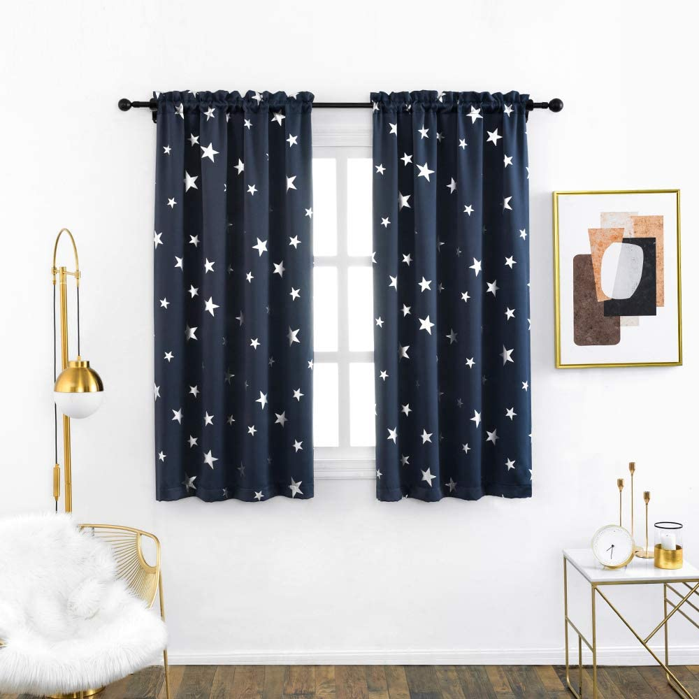 Anjee Living Room Curtains 2 Panels Set with Star Pattern, Blackout Drapes with Rod Pocket Top Help Light Blocking, 38 x 45 Inches, Navy Blue