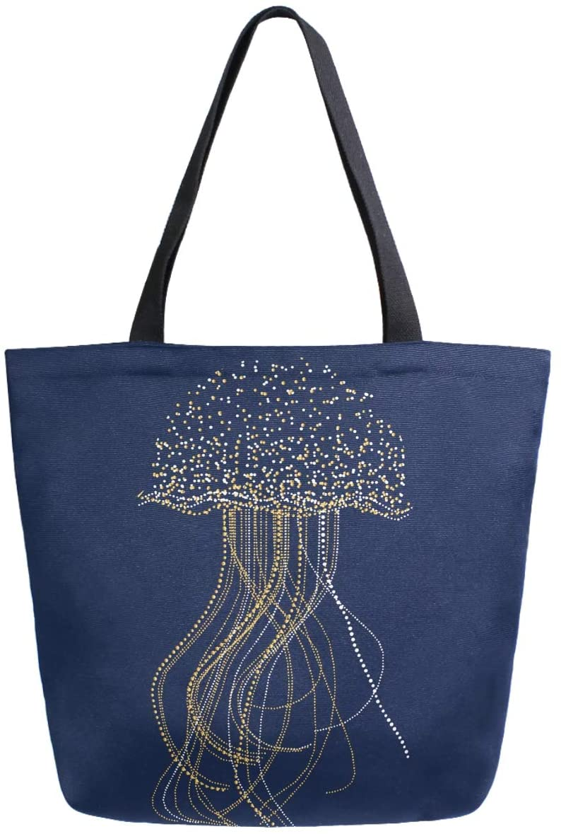 ZzWwR Beautiful Jellyfish Extra Large Canvas Shoulder Tote Top Handle Bag for Gym Beach Weekender Travel Shopping,Navy Blue