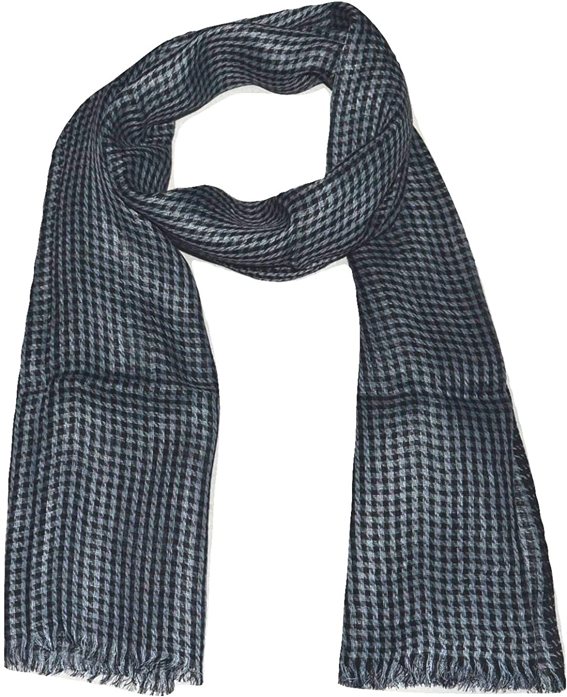 100% Pure Flax Linen Scarf, Two Tone Hounds-tooth Weave, All season Linen Scarf.