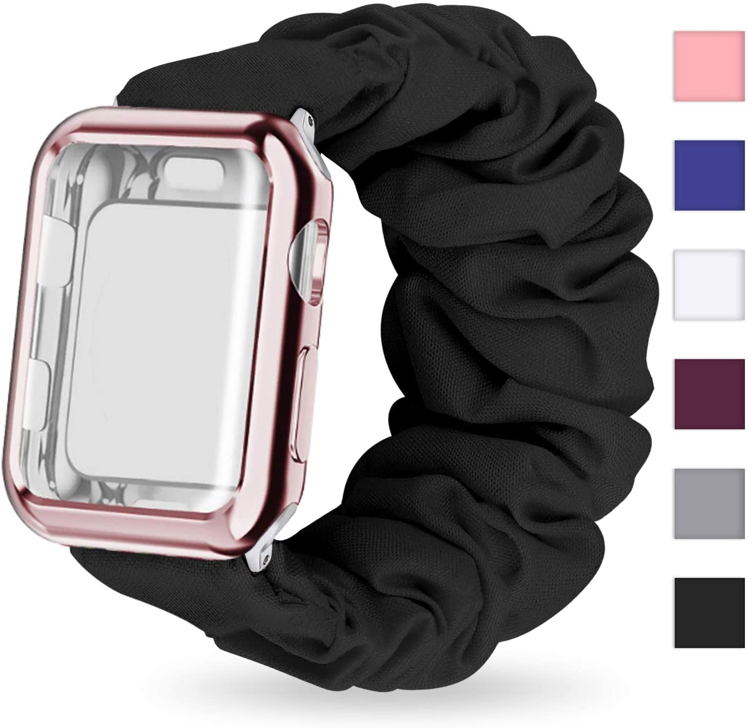 MORETEK Scrunchie Watch Band Compatible with Apple Watch Band 38mm 40mm 42mm 44mm with Screen Protector Case Women, Soft Replacement Wristband Compatible for iWatch Series 5 4 3 2 1(Black,44mm)