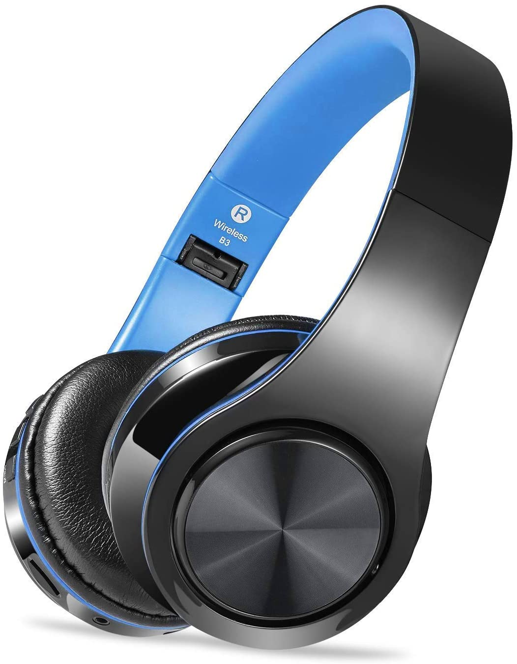 Wireless Headset with Mic, Foldable Bluetooth Headphone with 3.5mm Audio Jack, Built-in Noise Cancelling Microphone, Support for Plug-in Card, for PC, Phone(Black+Blue)