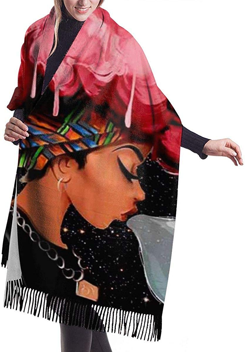 2 Pack mothers day gifts under 5 dollars Blowing Bubbles Afro Woman Girl Galaxy Cashmere Scarf for Women Men Lightweight Unisex Fashion Soft Winter Scarves Fringe Shawl Wraps