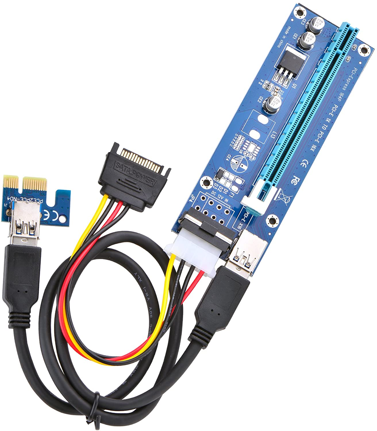 Optimal Shop PCI Express 16x to 1x Powered Riser Adapter Card w/60cm USB 3.0 Extension Cable and 4-Pin MOLEX to SATA Power Cable-GPU Riser Extender Cable-Ethereum Mining ETH (1 Pack 4 Pin)