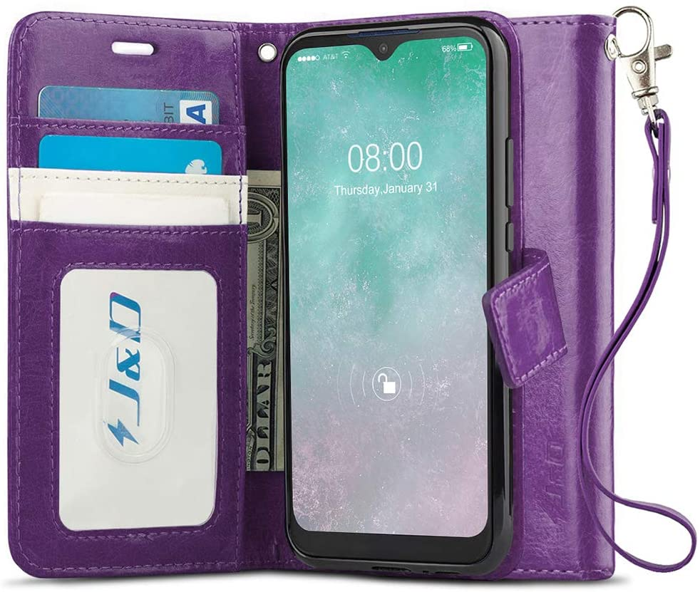 J&D Case Compatible for Motorola Moto E 2020 Case, [Wallet Stand] [Slim Fit] Heavy Duty Protective Shock Resistant Flip Cover with Card Slots for Moto E (Release in 2020) Wallet Case - Purple