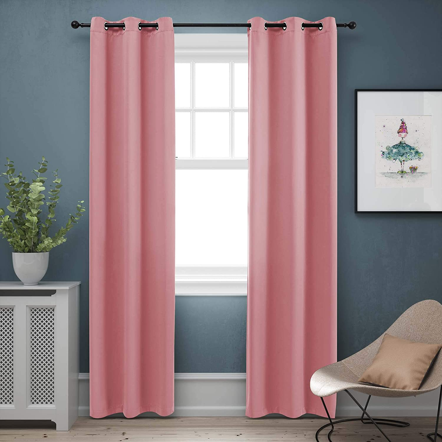 BLUEROCK Blackout Curtains Room Darkening Thermal Insulated Home Fashion Machine Washable Ring Top Light Blocking Curtains for Kids Room(Set of 2, 42 x 84 Inches in Pink)