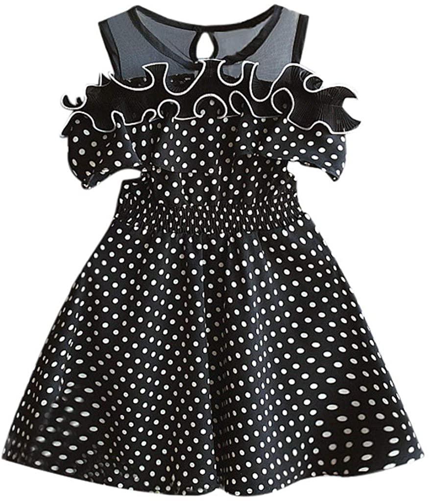 Girls Dress&Skirt, Toddler Kids Baby Girls Summer Dress Dot Printing Party Pageant Princess Dresses, Clothing for Baby Kids
