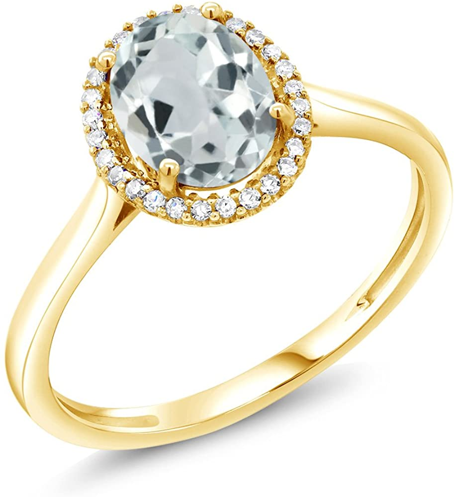 Gem Stone King 10K Yellow Gold Sky Blue Aquamarine and Diamond Women's Engagement Ring 1.10 Ctw Oval Available in (Available 5,6,7,8,9)