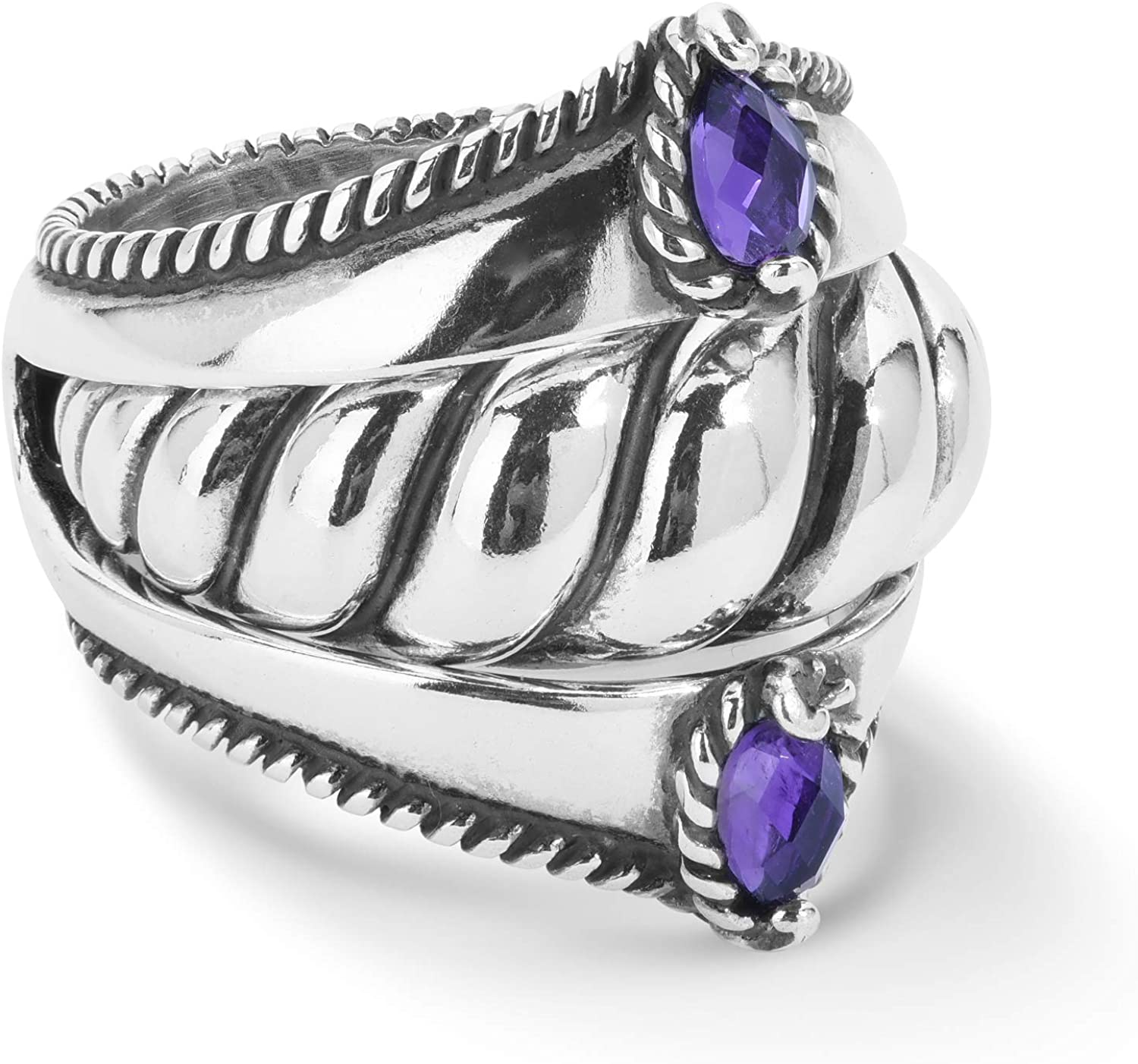 Carolyn Pollack Sterling Silver Purple Amethyst, Rhodolite Garnet or Sleeping Beauty Turquoise Gemstone Guard and 1 Insert Ring Set Size 5 to 10