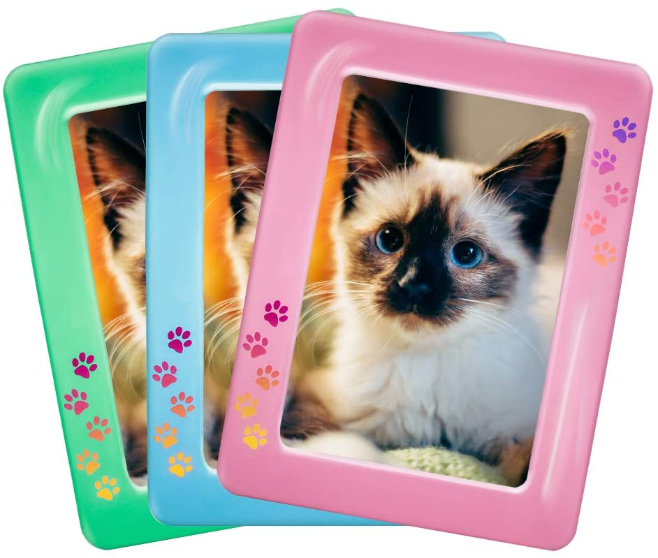 FavPaws 3 Crystal Magnetic Photo Picture Frames Hold 4x6 Inches Pictures for Refrigerator,Locker File Cabinet, Dishwasher & Other Metallic Surfaces (3 Pack)