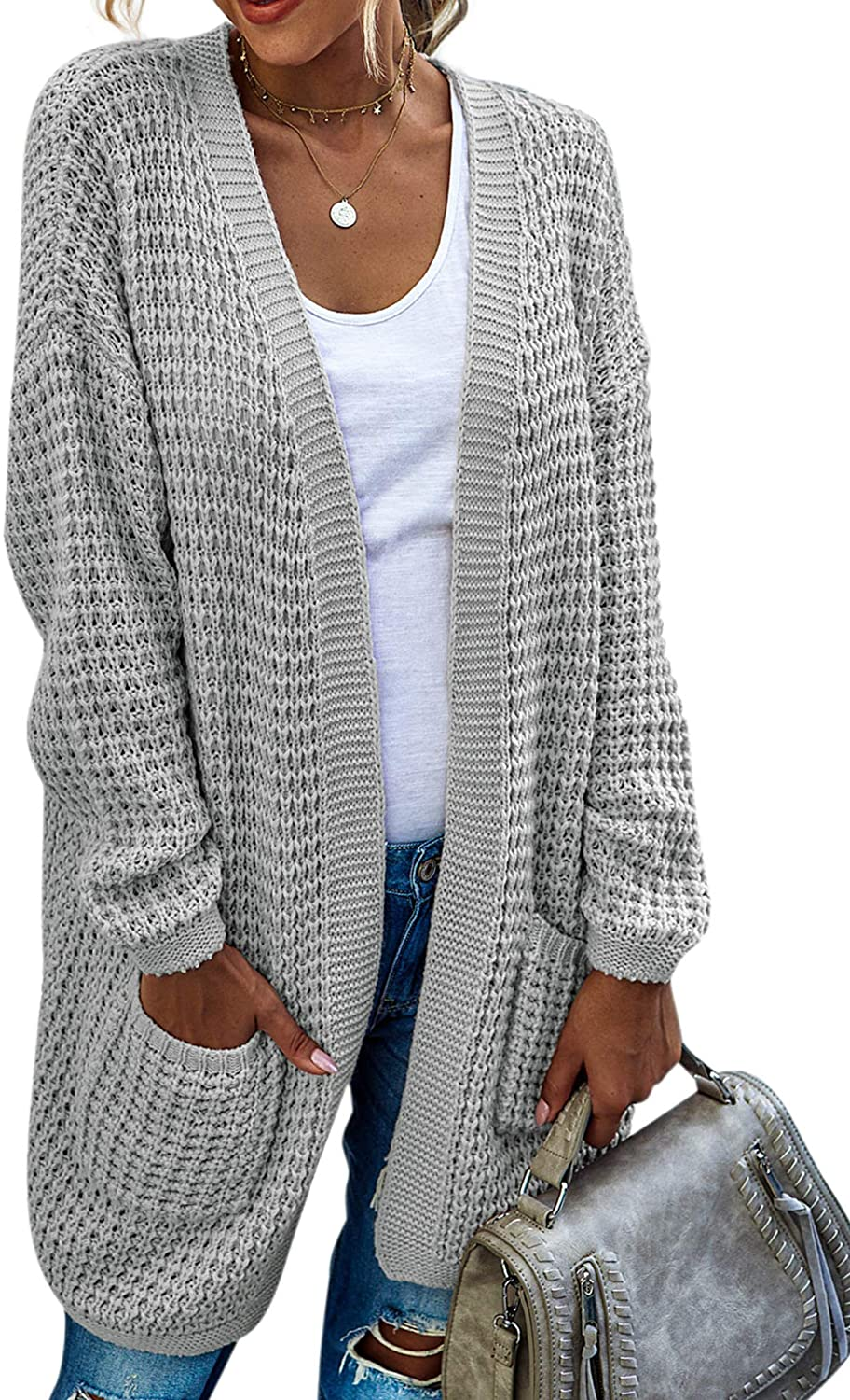 Hibluco Womens Color Block Striped Draped Kimono Cardigan with Pockets Long Sleeve Open Front Casual Knit Sweaters Coat