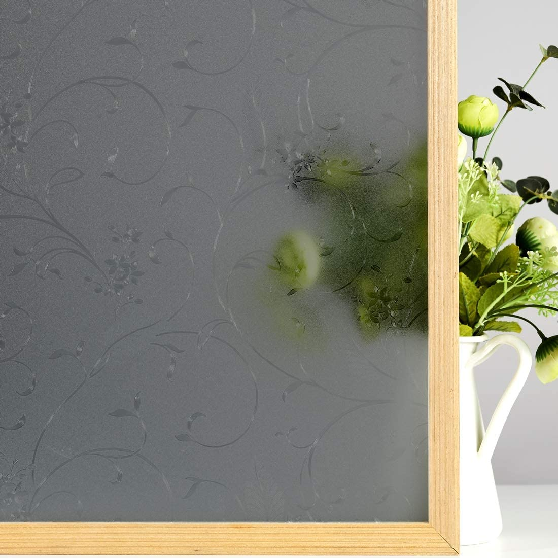 VELIMAX Etched Floral Textured Window Film Frosted Decorative Window Vinyl Privacy Glass Cling for Bathroom, Non-Adhesive, Translucent Black - 29.5