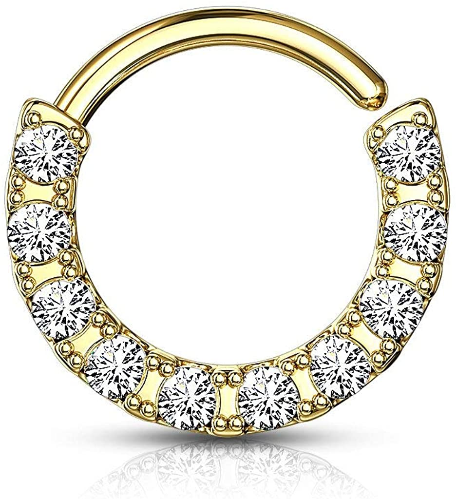 Forbidden Body Jewelry 16g 8-10mm CZ Lined Bendable Plated .925 Sterling Silver Cartilage & Septum Hoop