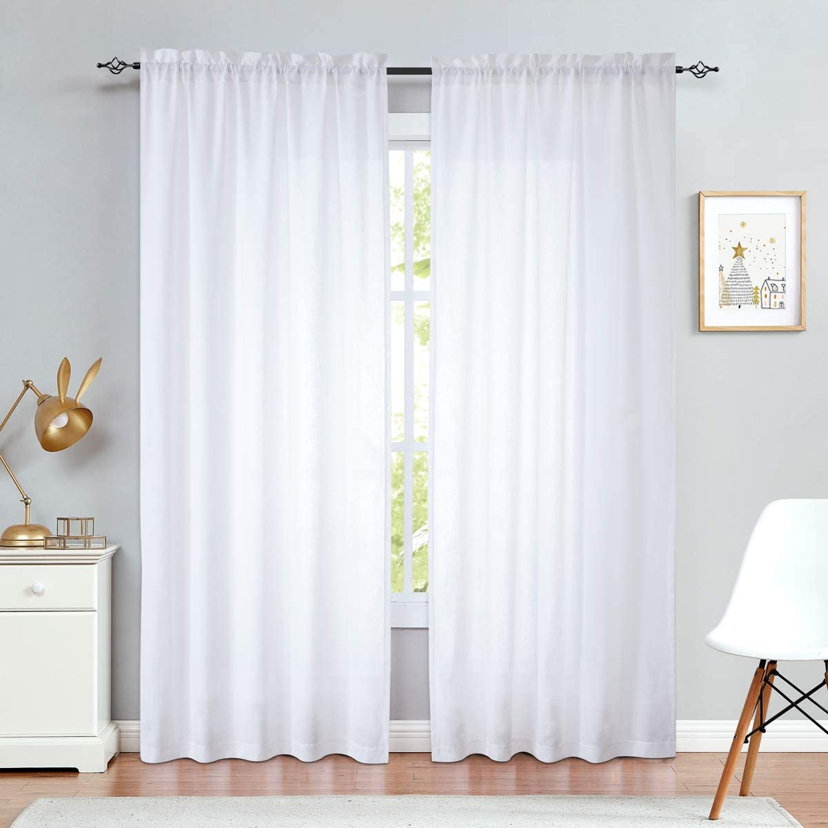 jinchan Linen Textured Curtains for Living Room Rod Pocket Light Filtering Window Treatment Set for Bedroom 2 Panels 84 inch Long White