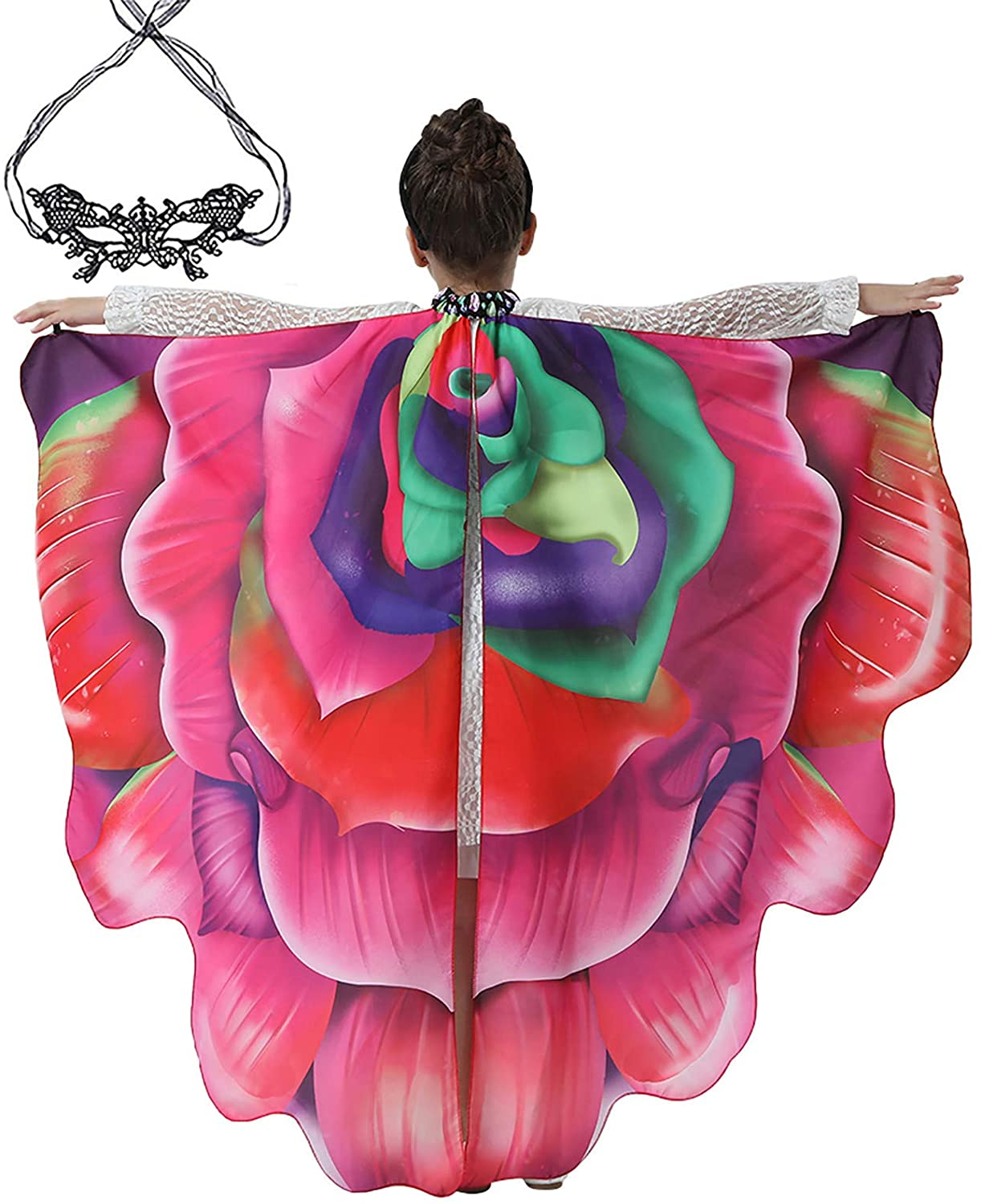 Children's Girls/Teens/Adults Women Halloween Butterfly Shawl Lady Cape Costume Accessory With Lace Facemasks
