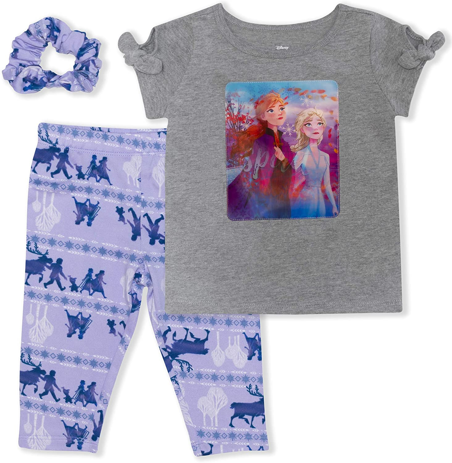 Disney Frozen II 3-Piece Leggings for Girls & Toddlers with T Shirt & Scrunchie