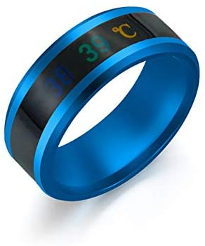 QHY Black/Blue/Silver/Golden Temperature Measurement Ring Intelligent Temperature Sensing Change Jewelry Men and Women Jewelry Ring,Temperature Measurement Wedding Band Polished Comfort Fit