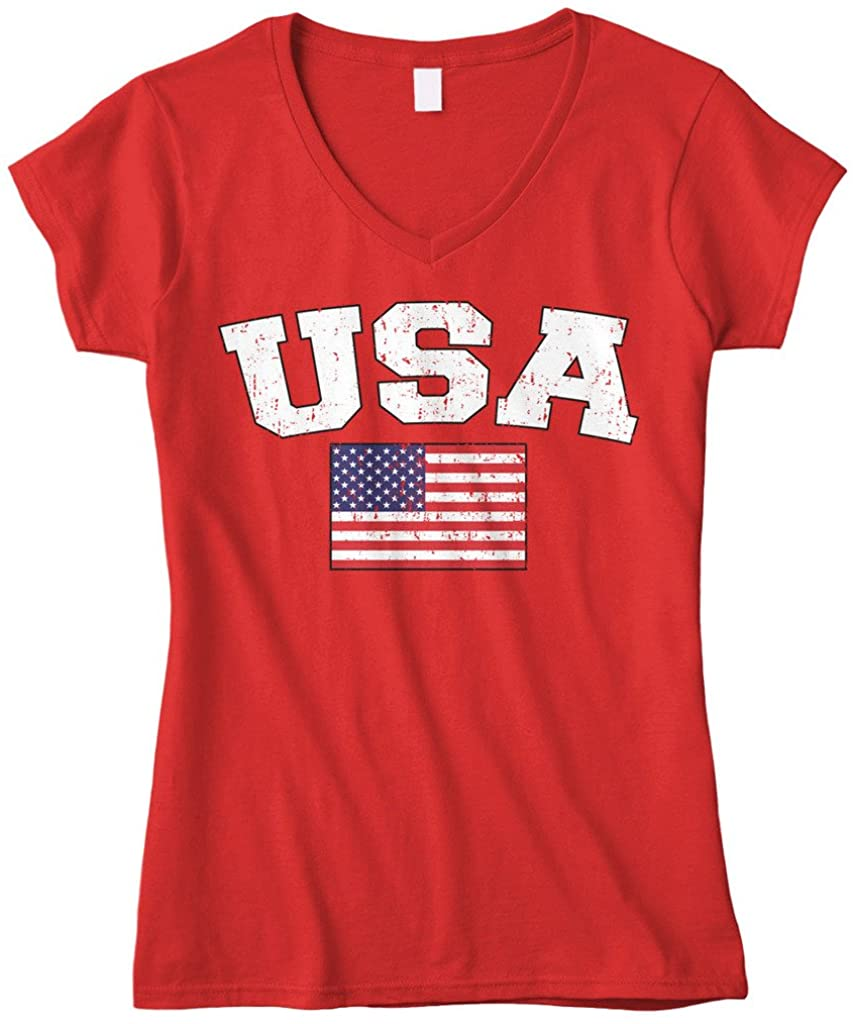 Cybertela Womens Faded Distressed USA Flag Fitted V-Neck T-Shirt