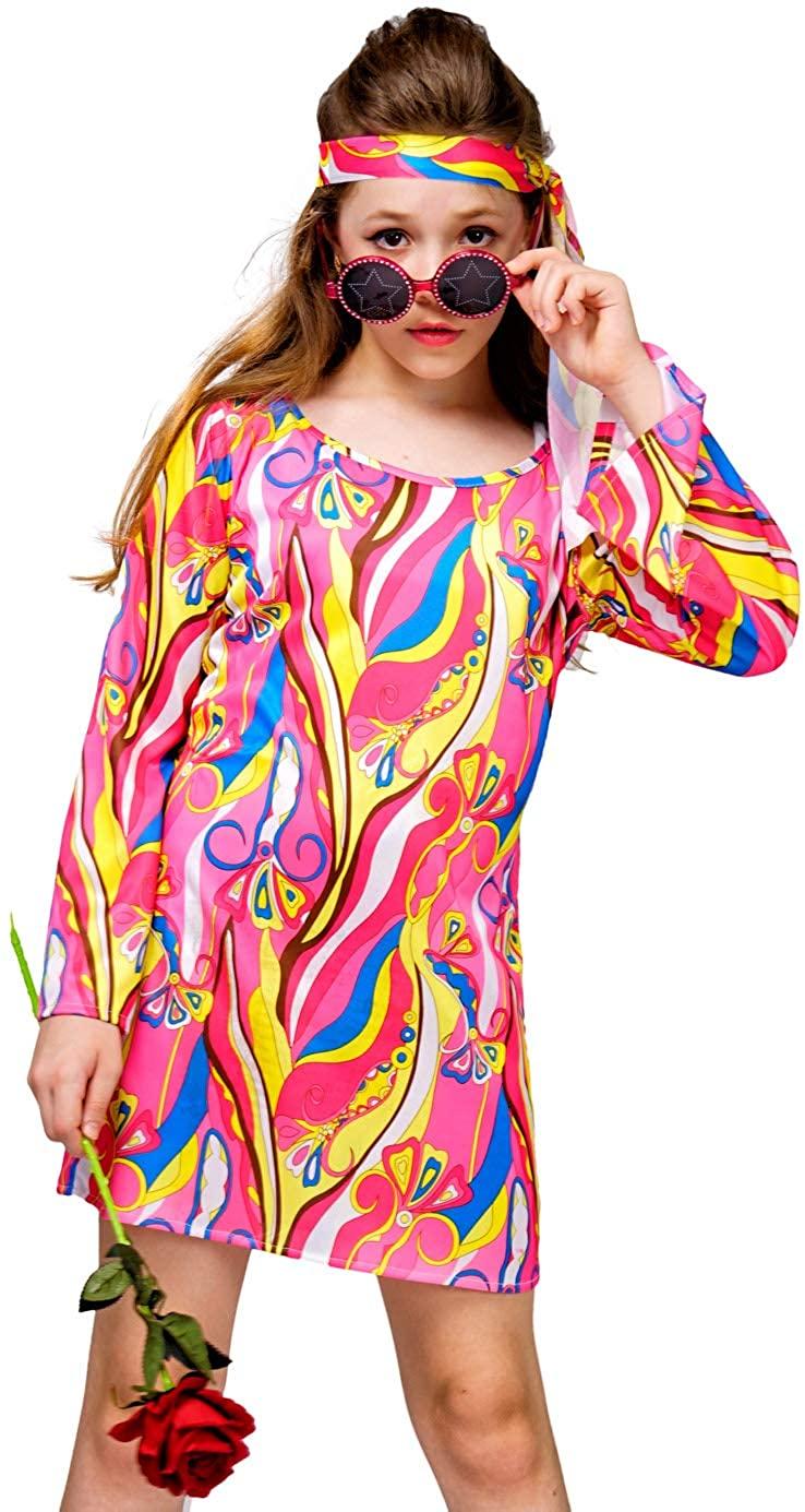 Kid's Girl 70's 80's Flower Hippie Disco Groovy Dress Costume