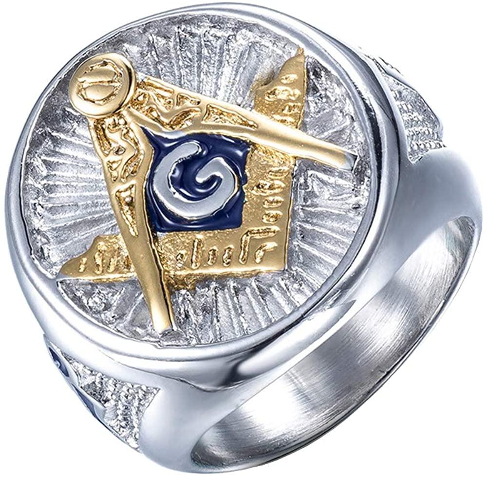 ZMY Mens Fashion Freemason Jewelry Rings, 316L Stainless Steel Silver Titanium Mason Masonic Ring for Men