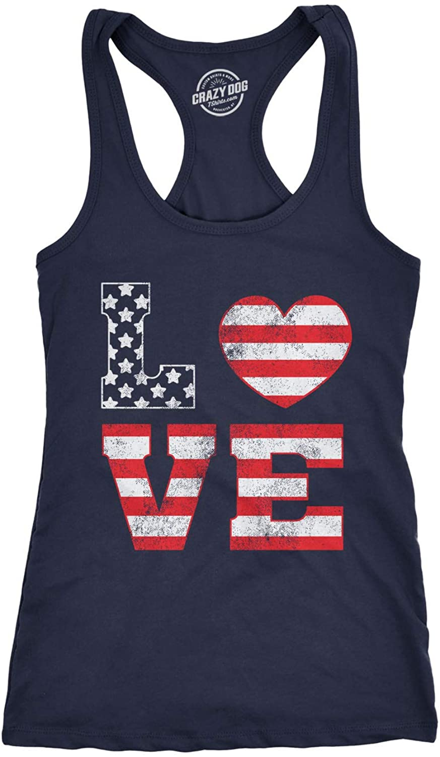 Womens Tank Love American Flag Tanktop Cute 4th of July Shirt