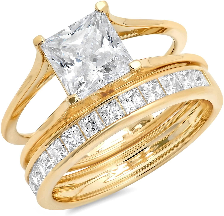 Clara Pucci 3.6 Ct Princess Cut Pave Halo Engagement Promise Wedding Bridal Anniversary Ring Band Set 14K Yellow Gold