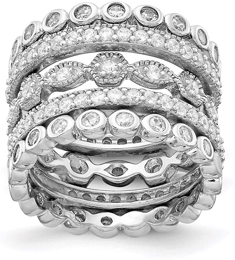 925 Sterling Silver Cubic Zirconia Cz Eternity Five Band Ring Set Stackable Fine Jewelry For Women Gifts For Her