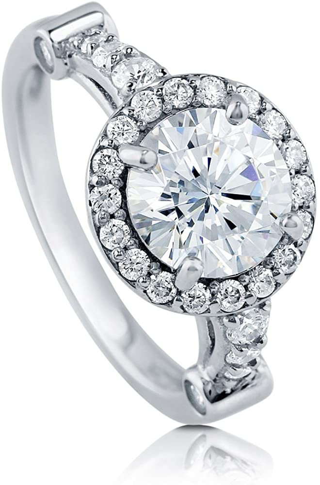 BERRICLE Rhodium Plated Sterling Silver Round Cubic Zirconia CZ Halo Engagement Ring 2.64 CTW
