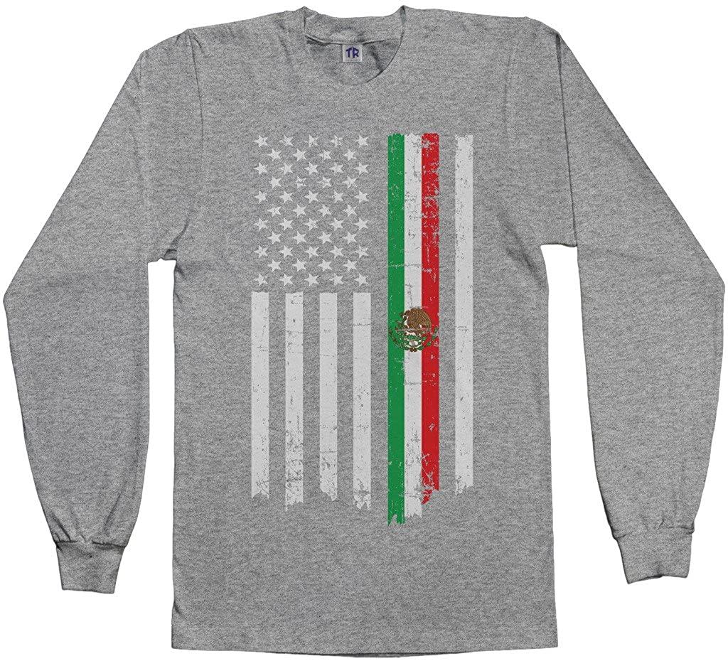 Threadrock Mens Mexican American Flag Long Sleeve T-Shirt
