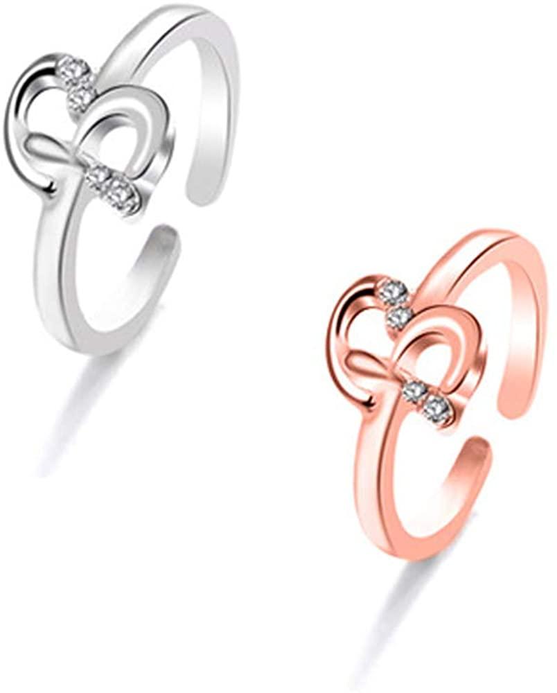 J Meng 2Pcs CZ Letter Initial Ring for Women A-Z Alphabet Open Adjustable Ring Set